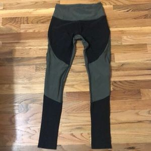 Army green and black leggings with mesh